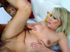 Blonde gilf jizz soaked