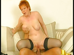 Redhead Granny take Stockings Fucks