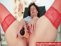 Aged head nurse gets naughty in..