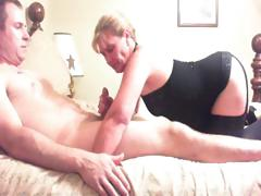 Fat guy and slut wife play with..