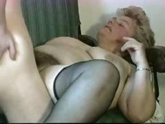Fat, blonde granny gets licked,..
