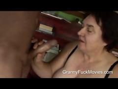 Ugly fat granny sucking on fresh..