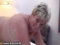 Chubby mature blonde is lickerish..