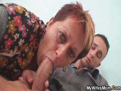 Unsightly redhead granny sucks..