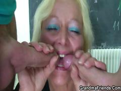 Brutal old teacher takes two cocks