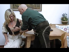 Blonde Huge-Boobs-Granny anal..