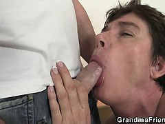 Hot triple on touching nasty granny