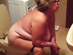 Spy Cam Grandma In Ladies' room -..