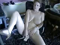 Cute barren granny masturbating..