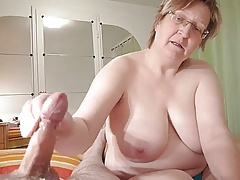 homemade, chubby granny wanks cock