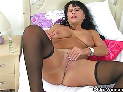 British milf Raven strips off and..