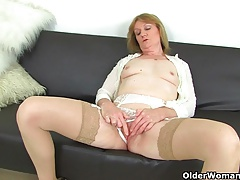 British milf Clare Cream strips..