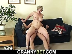 Shaved pussy granny sucks and..