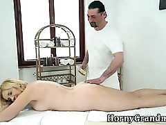 Massaged granny spunked