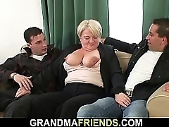 Big bosom granny picked up for..