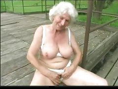 Granny Norma Outdoors with Chunky..