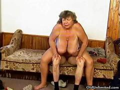 Vulgar grandma with big tits..
