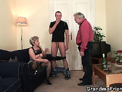 Horny granny takes yoke cocks at..