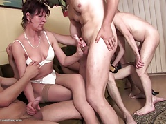 Matured mothers try line up sex..