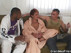 Interracial threesome orgy with..