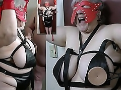 Granny nipples tortured with a..