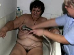 Fat granny gets treated by the..